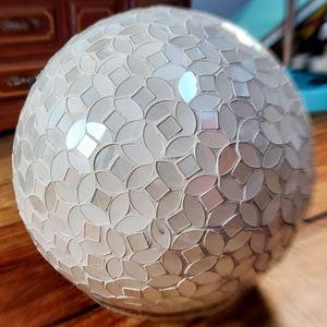 """Mosaic Glass Gazing Ball, white, 5"""" round Medium"""